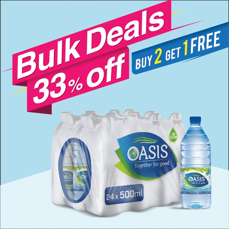Bulk Offer Oasis Still 500 ml Pack of 24  (Buy 2 Packs + Get 1 Pack Free)