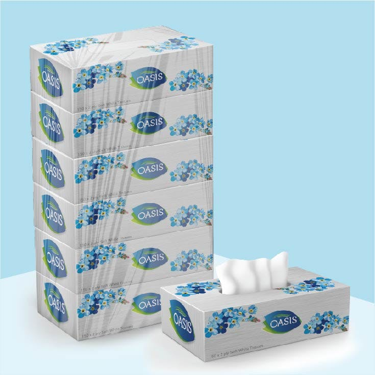 Oasis Tissue 150 x 2 Ply - Pack of 6 Box