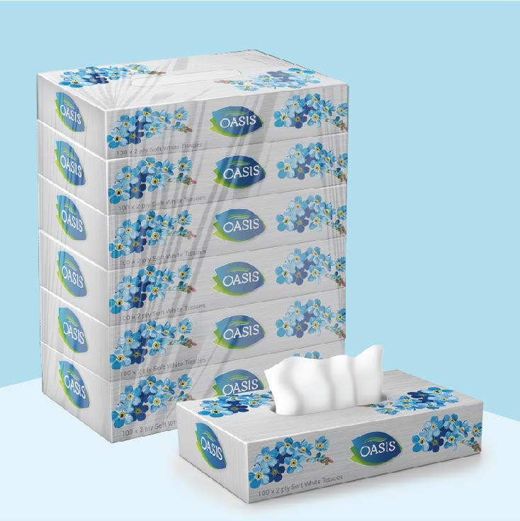 Oasis Tissue 100 x 2 Ply - Pack of 6 Box