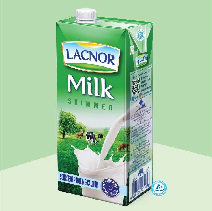 Lacnor Long Life Skimmed Milk 1L - Pack of 4