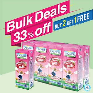 Bulk Offer Lacnor Long Life Milk Strawberry 180ml Pack of 8  (Buy 2 Packs + Get 1 Pack Free)