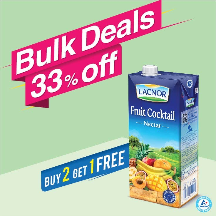 Bulk Offer Lacnor Long Life Fruit Cocktail 1L (Buy 2 + Get 1 Free)