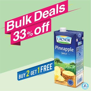Bulk Offer Lacnor Long Life Pineapple 1L  (Buy 2 + Get 1 Free)
