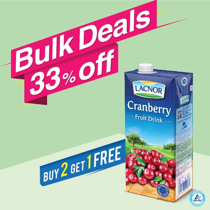 Bulk Offer Lacnor Long Life Cranberry 1L (Buy 2 + Get 1 Free)