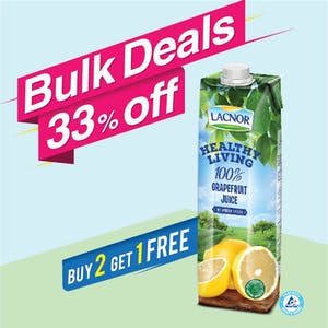 Bulk Offer Lacnor Healthy Living Grapefruit 1L (Buy 2 + Get 1 Free)