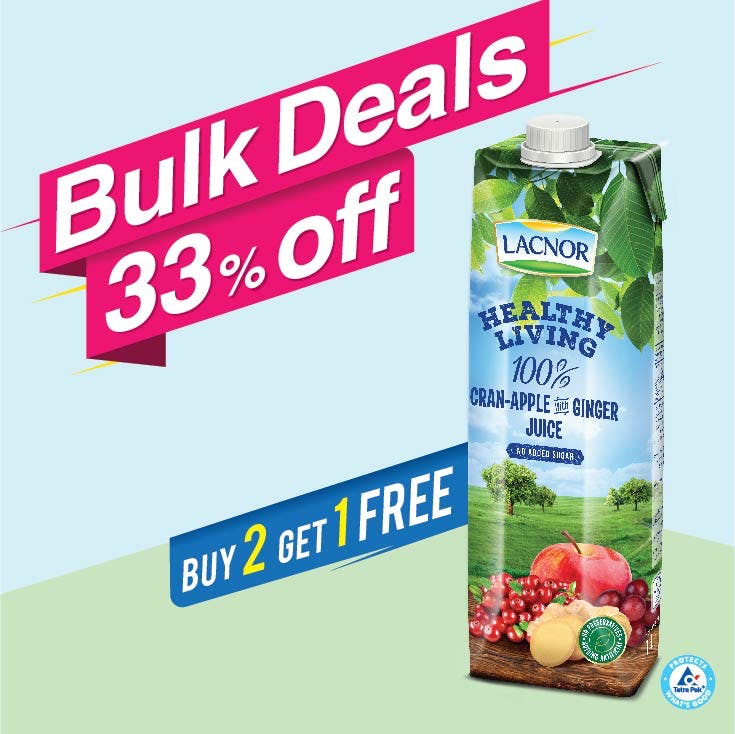 Bulk Offer Lacnor Healthy Living Cranberry-Apple-Ginger 1L  (Buy 2 + Get 1 Free)