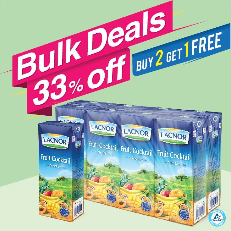 Bulk Offer Lacnor Long Life Fruit Cocktail 180ml Pack of 8  (Buy 2 Packs + Get 1 Pack Free)