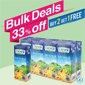 Bulk Offer Lacnor Long Life Fruit Cocktail 180ml Pack of 8  (Buy 2 Packs + Get 1 Pack Free)