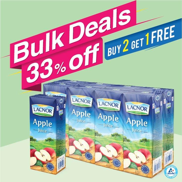 Bulk Offer Lacnor Long Life Apple 180ml Pack of 8  (Buy 2 Packs + Get 1 Pack Free)