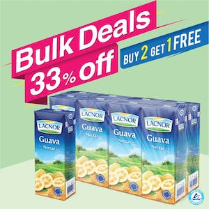 Bulk Offer Lacnor Long Life Guava 180ml Pack of 8  (Buy 2 Packs + Get 1 Pack Free)