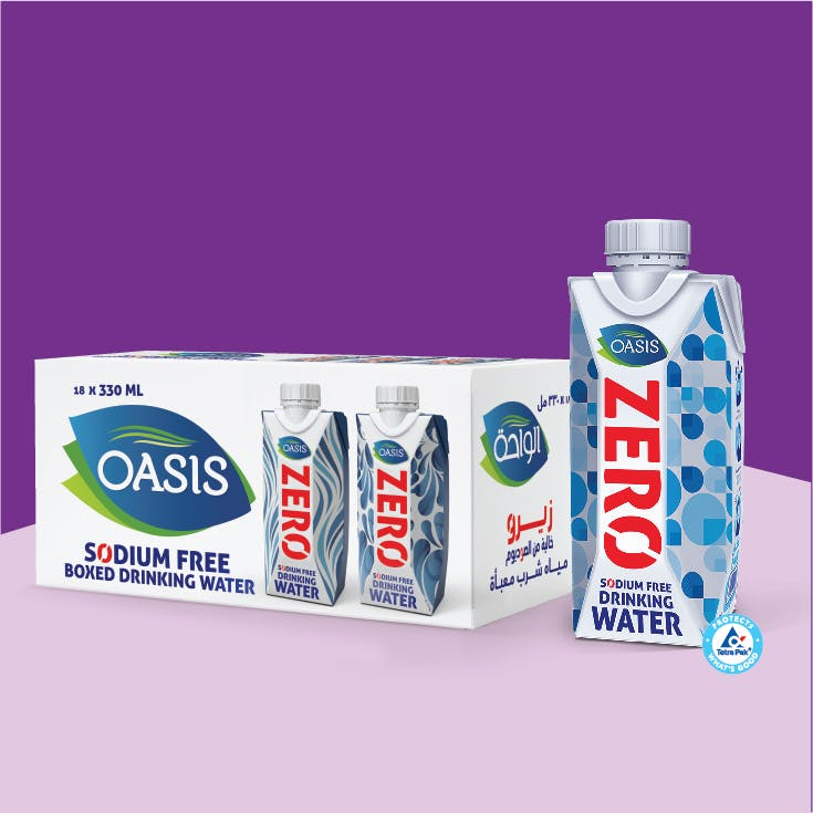 Oasis 330 ml Boxed Drinking Water Zero - Pack of 18