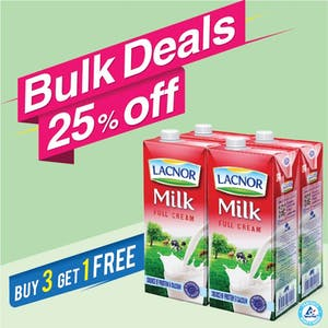 Bulk Offer Lacnor Long Life Full Cream Milk 1L Pack of 4  (Buy 3 Packs + Get 1 Pack Free)