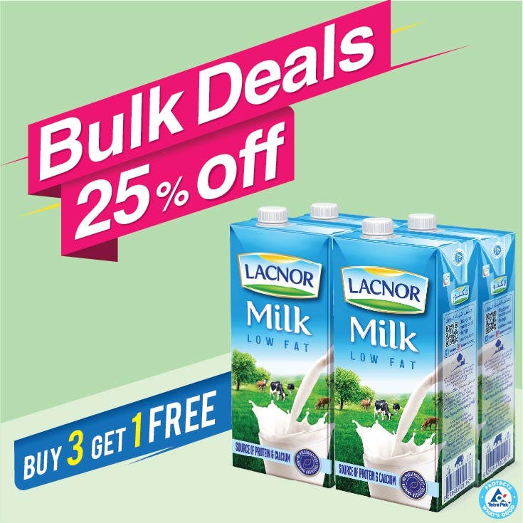 Bulk Offer Lacnor Long Life Low Fat Milk 1L Pack of 4 (Buy 3 Packs + Get 1 Pack Free)