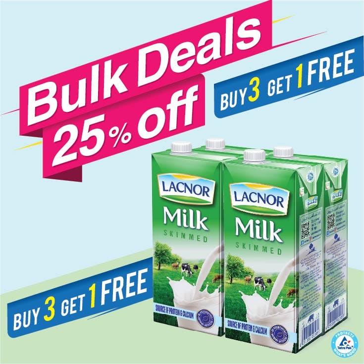 Bulk Offer Lacnor Long Life Skimmed Milk 1L Pack of 4 (Buy 3 Packs + Get 1 Pack Free)