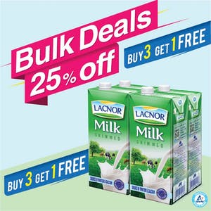 Bulk Offer Lacnor Long Life Skimmed Milk 1L Pack of 4 (Buy 3 Packs + Get 1 Pack Free)