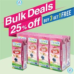 Bulk Offer Lacnor Long Life Milk Strawberry 180ml Pack of 8  (Buy 3 Packs + Get 1 Pack Free)