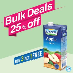 Bulk Offer Lacnor Long Life Apple 1L (Buy 3 + Get 1 Free)