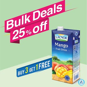 Bulk Offer Lacnor Long Life Mango 1L (Buy 3 + Get 1 Free)
