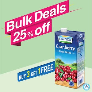 Bulk Offer Lacnor Long Life Cranberry 1L (Buy 3 + Get 1 Free)