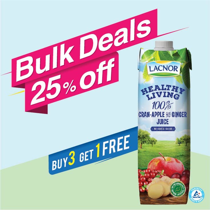 Bulk Offer Lacnor Healthy Living Cranberry-Apple-Ginger 1L  (Buy 3 + Get 1 Free)