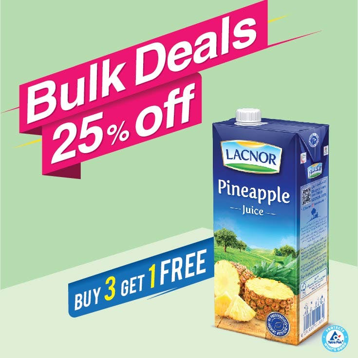 Bulk Offer Lacnor Long Life Pineapple 1L  (Buy 3 + Get 1 Free)