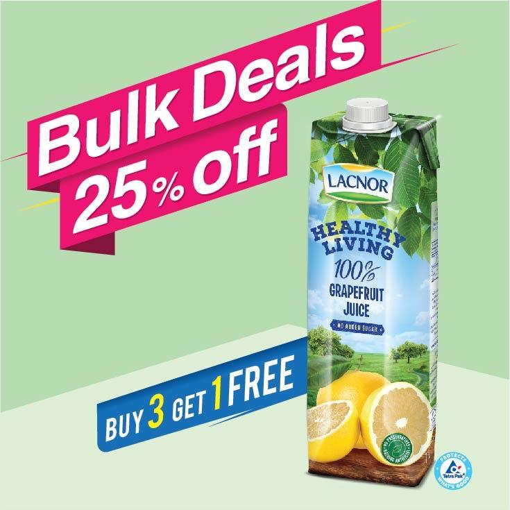 Bulk Offer Lacnor Healthy Living Grapefruit 1L (Buy 3 + Get 1 Free)
