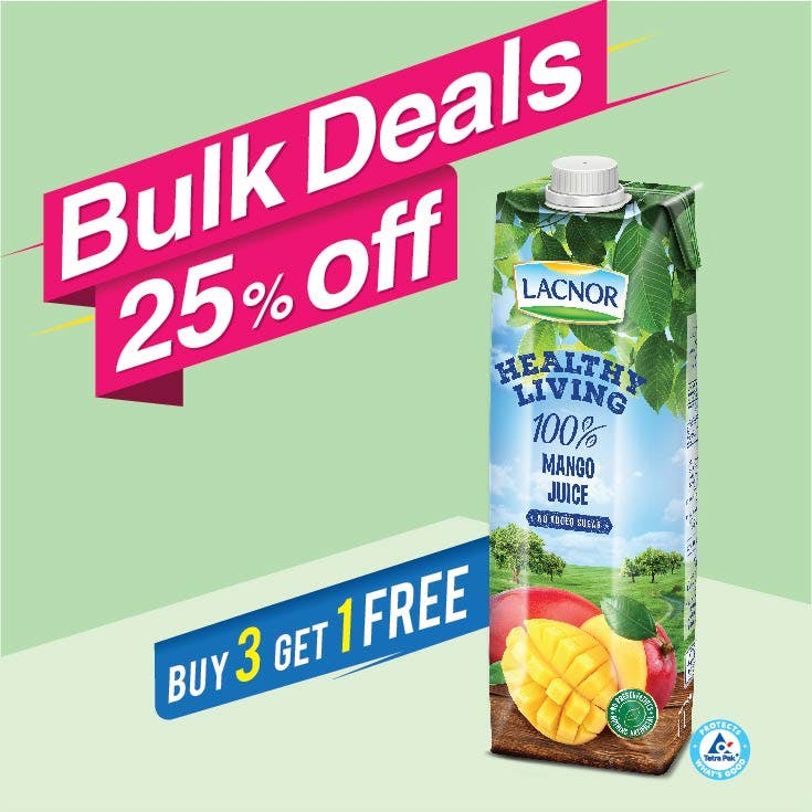 Lacnor Healthy Living Mango 1L (Buy 3 + Get 1 Free)