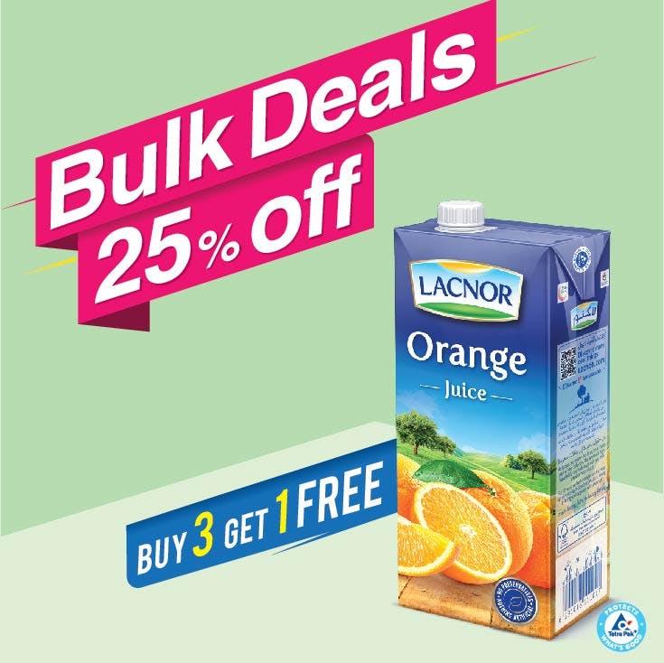 Bulk Offer Lacnor Long Life Orange 1L (Buy 3 + Get 1 Free)