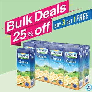 Bulk Offer Lacnor Long Life Guava 180ml Pack of 8  (Buy 3 Packs + Get 1 Pack Free)