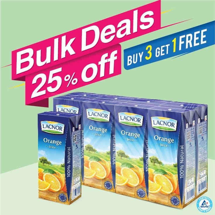 Bulk Offer Lacnor Long Life Orange 180ml Pack of 8  (Buy 3 Packs + Get 1 Pack Free)