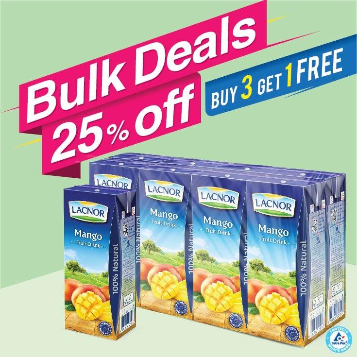 Bulk Offer Lacnor Long Life Mango 180ml Pack of 8  (Buy 3 Packs + Get 1 Pack Free)