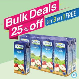 Bulk Offer Lacnor Long Life Apple 180ml Pack of 8  (Buy 3 Packs + Get 1 Pack Free)