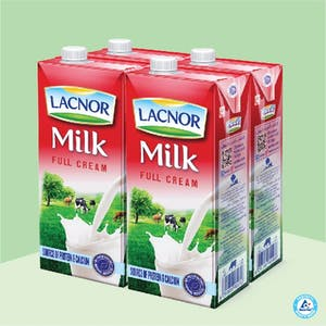 Lacnor Long Life Milk Full Cream 1L - Pack of 4