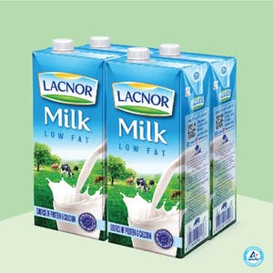 Lacnor Long Life Milk Low Fat 1L - Pack of 4