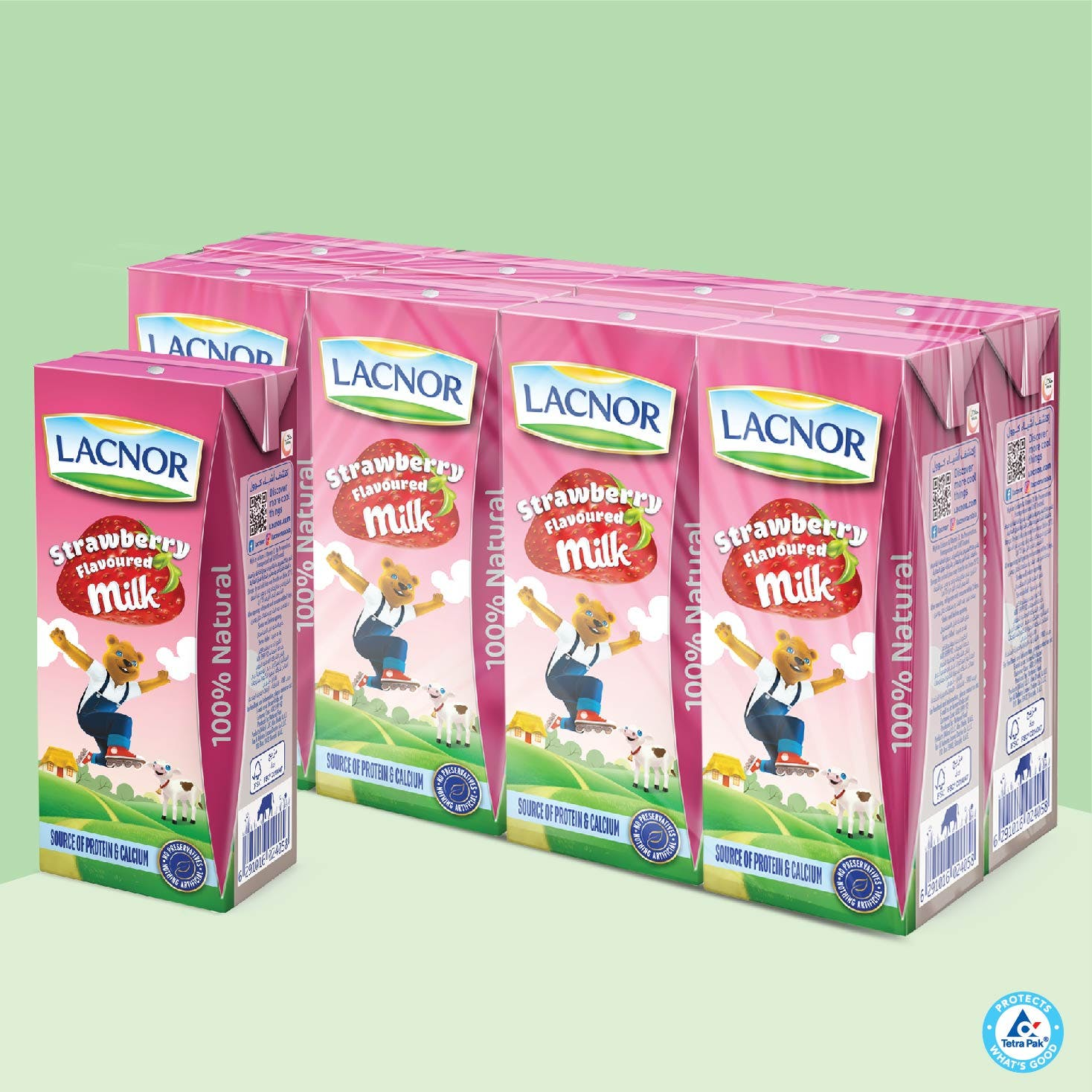 Lacnor Long Life Milk Strawberry 180 ml - Pack of 8