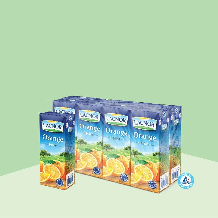 Lacnor Long Life Orange 180ml - Pack of 8