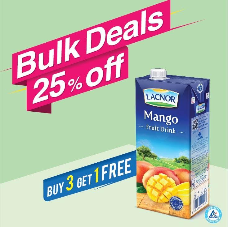 Bulk Offer Lacnor Long Life Mango 1L (Buy 3 + Get 1 Free)