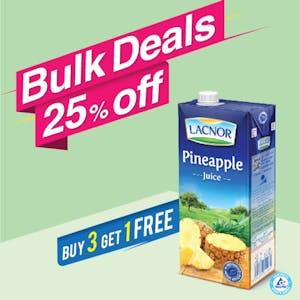 Bulk Offer Lacnor Long Life Pineapple 1L  (Buy 3 + Get 1 Free)