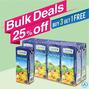Bulk Offer Lacnor Long Life Fruit Cocktail 180ml Pack of 8  (Buy 3 Packs + Get 1 Pack Free)