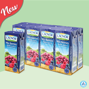Lacnor 100% Long Life Juice Mix Berry  180ml - Pack of 8