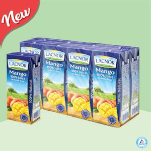 Lacnor 100% Long Life Juice Mango 180ml - Pack of 8