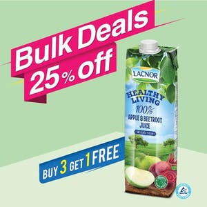 Bulk Offer Lacnor Healthy Living Apple Beetroot 1L (Buy 3 + Get 1 Free)